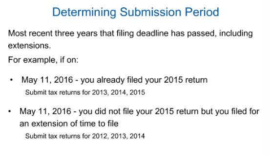 IRS Amnesty - 3 years tax returns + 6 years FBARs